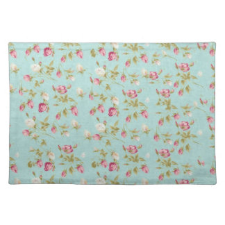 Vintage floral roses blue shabby chic rose flowers cloth placemat