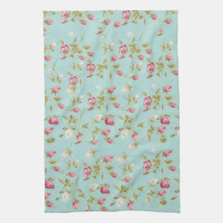 Vintage floral roses blue shabby chic rose flowers kitchen towel