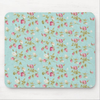 Vintage floral roses blue shabby chic rose flowers mouse pad