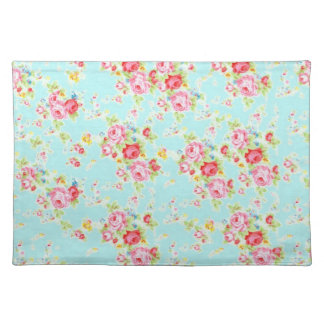 Vintage floral roses blue shabby chic rose flowers placemat