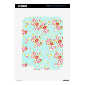 Vintage floral roses blue shabby chic rose flowers iPad 3 skin