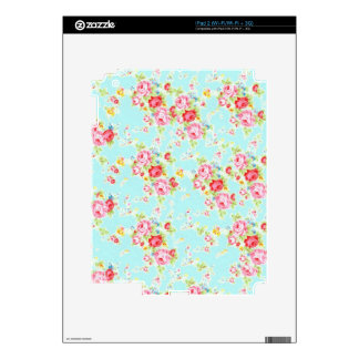 Vintage floral roses blue shabby chic rose flowers decals for the iPad 2
