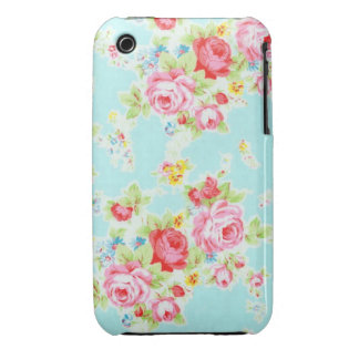 Vintage floral roses blue shabby rose flowers chic iPhone 3 covers
