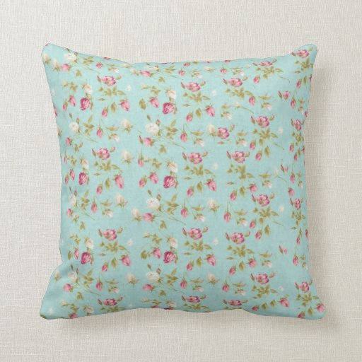 Vintage floral roses blue shabby rose flowers chic throw pillow