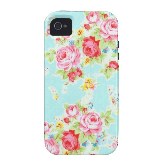 Vintage floral roses blue shabby rose pattern Case-Mate iPhone 4 cover