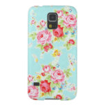 Vintage floral roses blue shabby rose pattern chic galaxy s5 covers