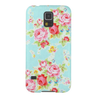 Vintage floral roses blue shabby rose pattern chic galaxy s5 case