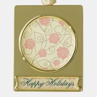 vintage floral roses coral beige elegant girly gold plated banner ornament