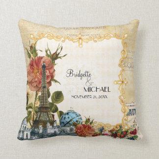 Vintage Floral Roses Eiffel Tower Marie Antoinette Pillow