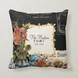 Vintage Floral Roses Eiffel Tower Marie Antoinette Throw Pillow