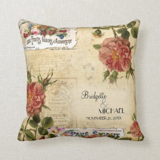 Vintage Floral Roses Fruit Label Wedding Custom Throw Pillow