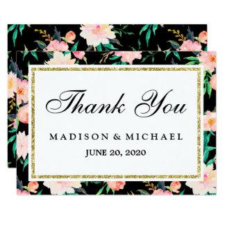 Vintage Floral Roses Modern Wedding Thank You Card