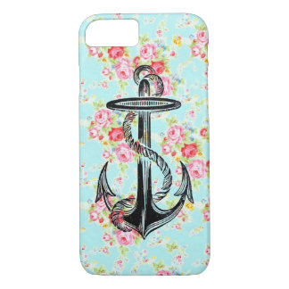 Vintage floral roses pattern shabby rose anchor iPhone 8/7 case