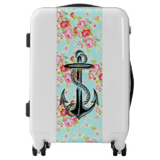 Vintage floral roses pattern shabby rose anchor luggage