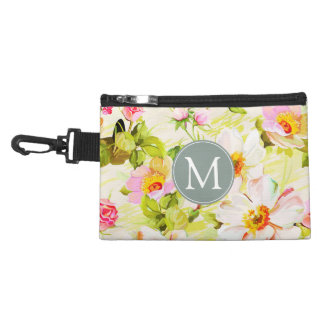 Vintage Floral Roses Peonies Monogram clip-on Bag
