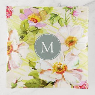 Vintage Floral Roses Peonies Monogram Trinket Tray