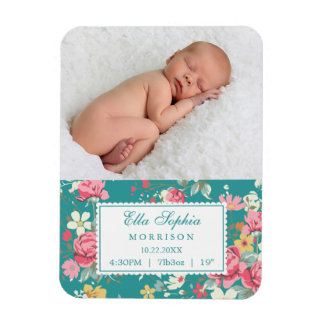 Vintage Floral Roses Photo Birth Announcement Rectangular Magnet