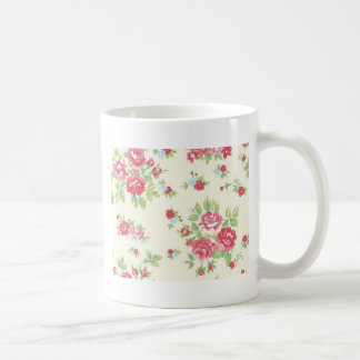Vintage Floral Roses Pink Coral Green Red Peach Coffee Mug