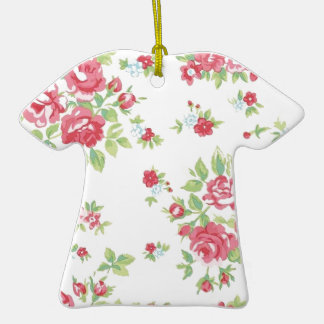 Vintage Floral Roses Pink Coral Green Red Peach Ceramic T-Shirt Ornament