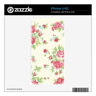 Vintage Floral Roses Pink Coral Green Red Peach Skin For The iPhone 4
