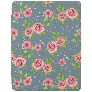 Vintage Floral Roses Pink Green Pattern iPad Cover