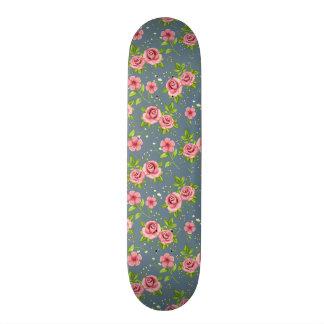 Vintage Floral Roses Pink Green Pattern Skate Deck