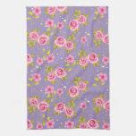 Vintage Floral Roses Pink Purple Pattern Hand Towel
