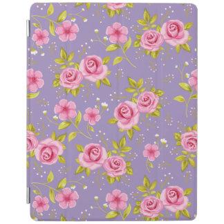 Vintage Floral Roses Pink Purple Pattern iPad Cover