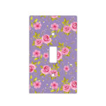 Vintage Floral Roses Pink Purple Pattern Light Switch Cover
