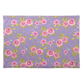 Vintage Floral Roses Pink Purple Pattern Placemat
