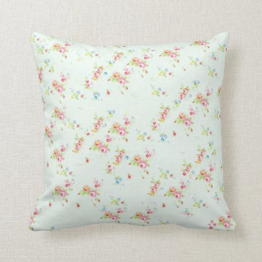 Shabby Chic Floral Throw Pillows : Vintage floral roses pink shabby chic rose flowers pillows Zazzle