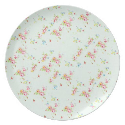 Vintage floral roses pink shabby chic rose flowers dinner plates