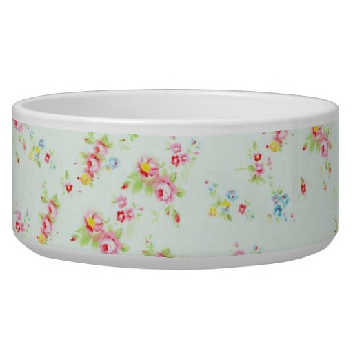 Vintage floral roses pink shabby rose chic flowers pet water bowl