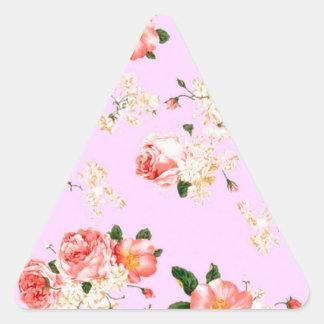 Vintage Floral Roses Triangle Sticker