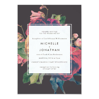 Vintage Floral Roses Wedding Invitation