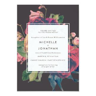 Vintage Floral Roses Wedding Invitation