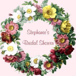 vintage floral roses wreath pink bridal shower cake pops