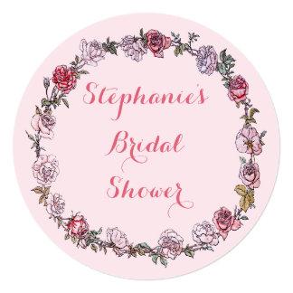 Vintage Floral Roses Wreath Pink Bridal Shower Card