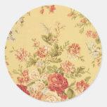 vintage Floral Round Stickers