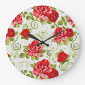 vintage red roses floral round wall clock