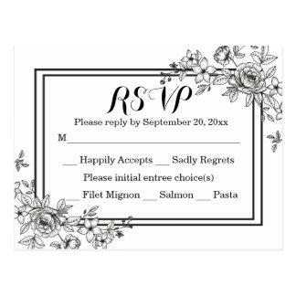 Vintage Floral RSVP Black & White Wedding Party Postcard