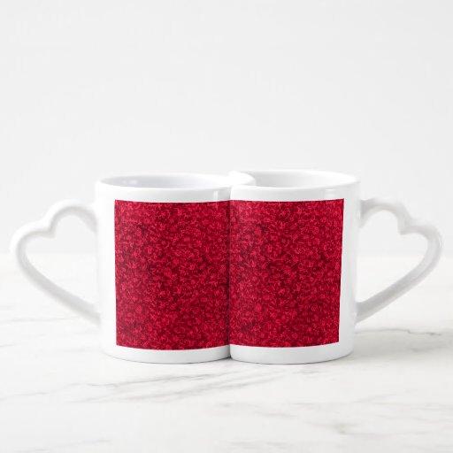 Vintage Floral Ruby Cranberry Red Couples Mug