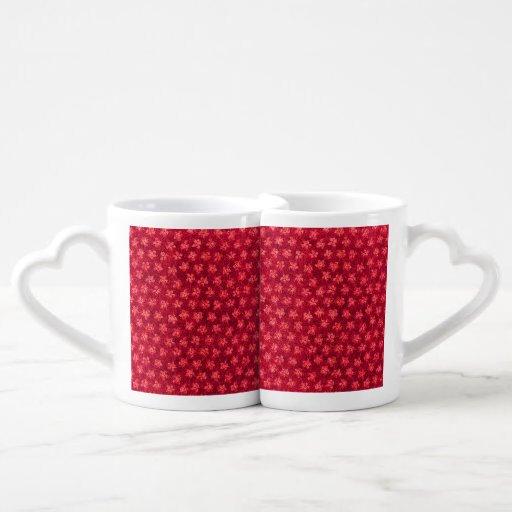 Vintage Floral Ruby Cranberry Red Violets Lovers Mug