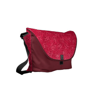 Vintage Floral Ruby Flame Red Small Messenger Bag