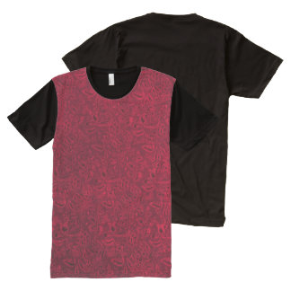 Vintage Floral Ruby Garnet Flame Red All-Over Print T-shirt