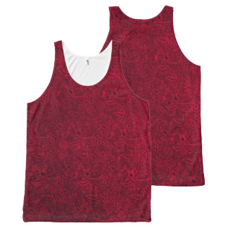 Vintage Floral Ruby Garnet Flame Red All-Over Print Tank Top