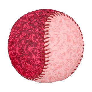 Vintage Floral Ruby Red and Peach Baseball