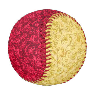 Vintage Floral Ruby Red and Yellow Baseball
