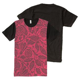 Vintage Floral Ruby Red Leaf All-Over Print T-shirt
