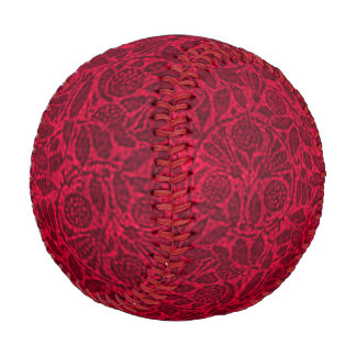 Vintage Floral Ruby Red Leaves Baseball